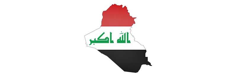 Umriss mit Flagge von Irak